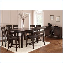 Steve Silver Company Victoria 5 Piece Counter Height Dining Table Set in Mango