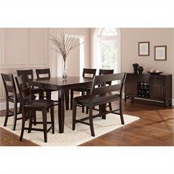 Steve Silver Company Victoria 7 Piece Counter Height Dining Table Set in Mango