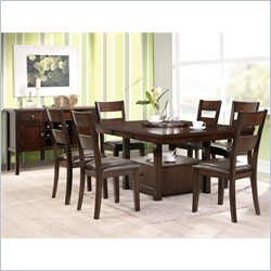 Steve Silver Company Gibson 7 Piece 2 in 1 Dining Table Set in Espresso