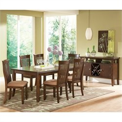 Steve Silver Company Montreal 7 Piece Rectangular Dining Table Set in Dark Oak