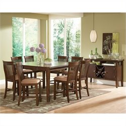 Steve Silver Company Montreal 9 Piece Counter Dining Table Set in Dark Oak