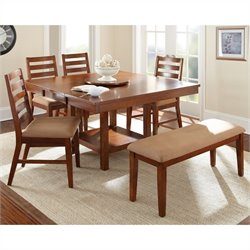 Steve Silver Company Eden 6 Piece Dining Table Set in Light Cherry