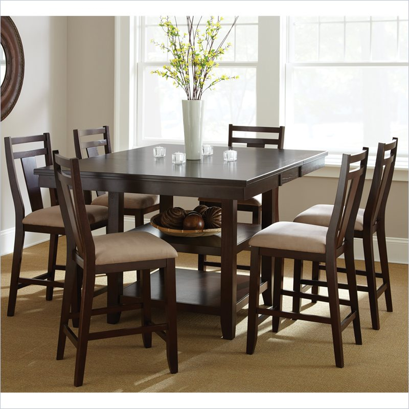 Munich 7 Piece Counter Dining Table Set in Rich Espresso