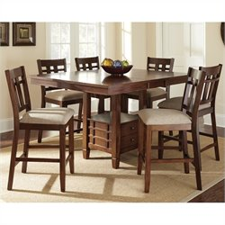 Steve Silver Company Bolton 7 Piece Counter Dining Table Set in Dark Oak