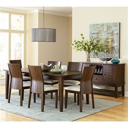 Steve Silver Company Harlow 7 Piece Rectangular Dining Table Set in Tobacco and Cherry