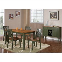 Steve Silver Company Candice 5 Piece Rectangular Dining Table Set in Oak and Green