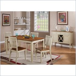 Steve Silver Company Candice 5 Piece Rectangular Dining Table Set in Oak and White
