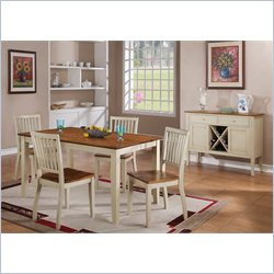 Steve Silver Company Candice 7 Piece Rectangular Dining Table Set in Oak and White