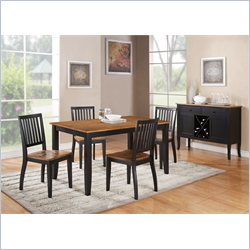 Steve Silver Company Candice 5 Piece Rectangular Dining Table Set in Oak and Black