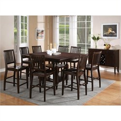 Steve Silver Company Candice 9 Piece Counter Dining Table Set in Dark Espresso