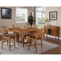 Steve Silver Company Candice 5 Piece Counter Height Dining Table Set in Oak