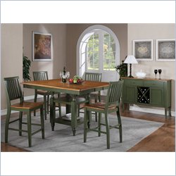 Steve Silver Company Candice 5 Piece Counter Dining Table Set in Oak and Green