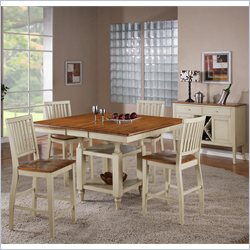 Steve Silver Company Candice 5 Piece Counter Dining Table Set in Oak and White