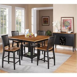 Steve Silver Company Candice 5 Piece Counter Height Dining Table Set in Oak and Black