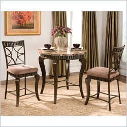 Steve Silver Company Hamlyn 3  Piece Round Counter Height Dining Table Set in Brown