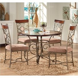 Steve Silver Company Thompson 5 Piece Round Dining Table Set in Metal and Cherry