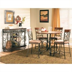 Steve Silver Company Thompson 5 Piece Round Counter Dining Table Set in Metal and Cherry