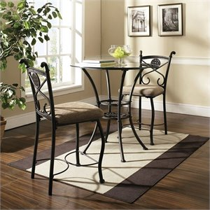 Steve Silver Company Brookfield 3 Piece Round Counter Dining Table in Dark Metal