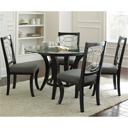 Steve Silver Company Cayman 5 Piece Round Dining Table Set in Black