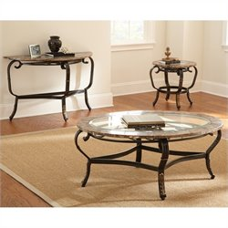 Steve Silver Company Gallinari 3 Piece Brown Marble Veneer Cocktail Table Set