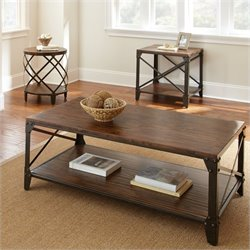 Steve Silver Company Winston 3 Piece Antiqued Metal Coffee Table Set in Distressed Tobacco