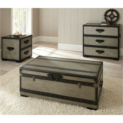 Steve Silver Company Rowan 3 Piece Coffee Table Set in Weathered Gray