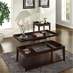 Steve Silver Company Clemson 3 Piece Lift Top Cocktail Table Set in Cherry