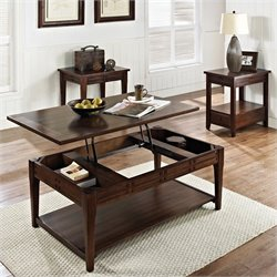 Steve Silver Company Crestline 3 Piece Lift Top Cocktail Table Set in Distressed Walnut