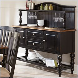 Steve Silver Company Carrolton Buffet and Hutch in Oak and Black