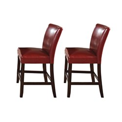 Steve Silver Hartford Leather Counter Stool in Red (Set of 2)