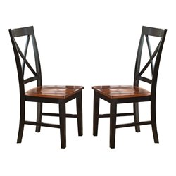 Steve Silver Kingston Dining Chair in Oak and Black (Set of 2)