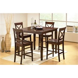 Steve Silver Cobalt 5 Piece Square Counter Dining Set in Espresso