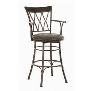 Steve Silver Bali Leather Swivel Stool with Armrest