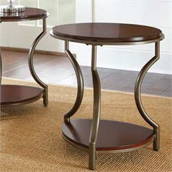 Steve Silver Maryland Round End Table in Medium Cherry Wood