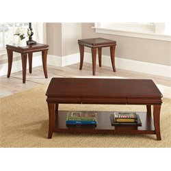 Steve Silver Aubrey 3 Piece Coffee Table Set in Cherry