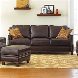 Steve Silver Caldwell Leather Sofa with 2 Accent Pillows in Walnut