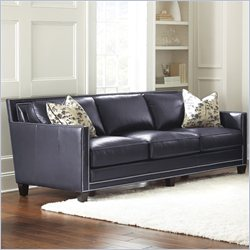 Steve Silver Company Hendrix Sofa with Two Accent Pillows in Navy Blue