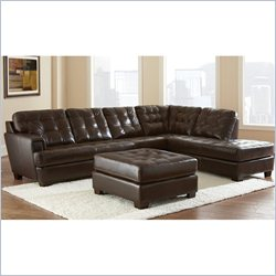 Steve Silver Soho Leather Living Room Sectional Sofa in Ebony Brown