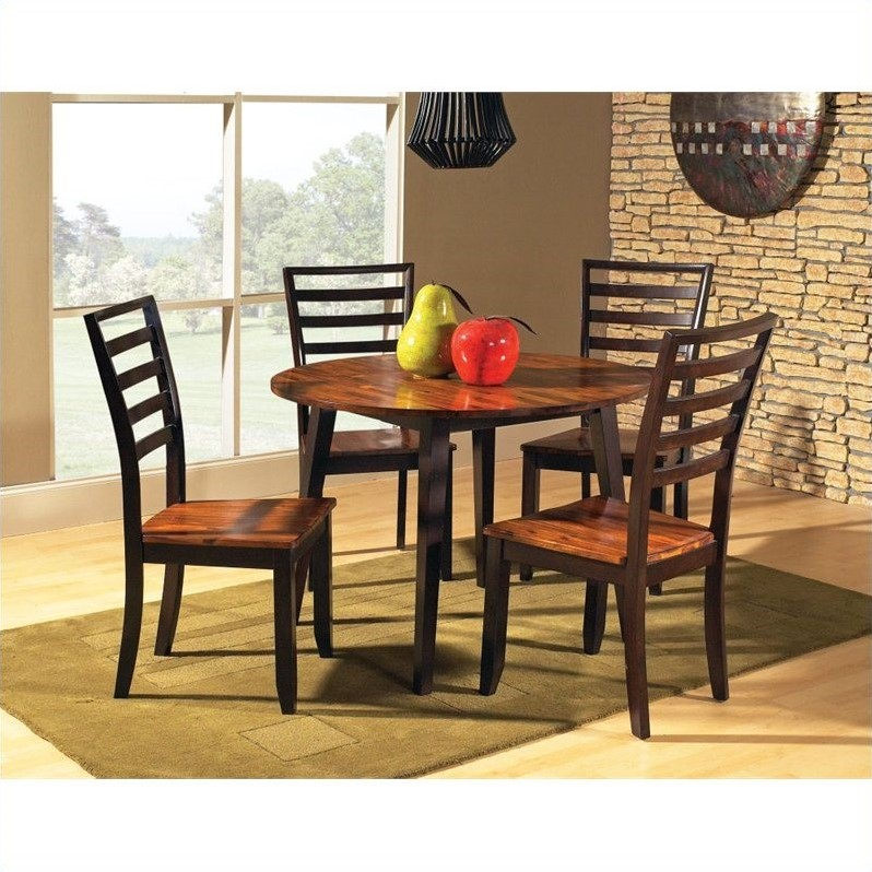 silver abaco 5pc round dining room table set in acacia ab4242 set