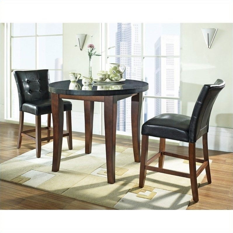 Steve Silver Granite Bello 3pc Round Counter Dining Set In Cherry MG600 SET