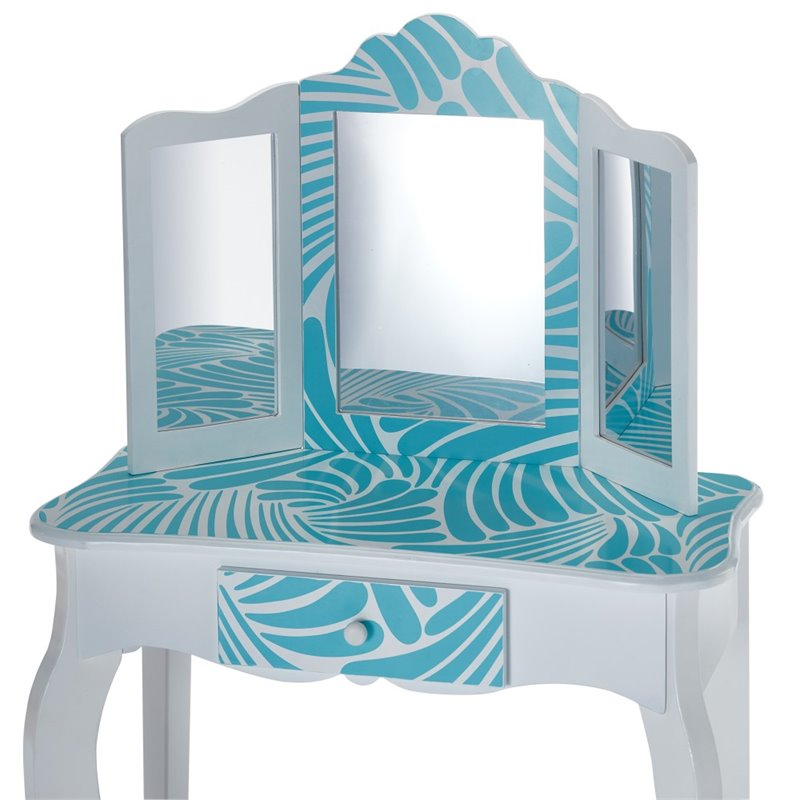Teamson Kids Fashion Prints Tropical Vanity Table And