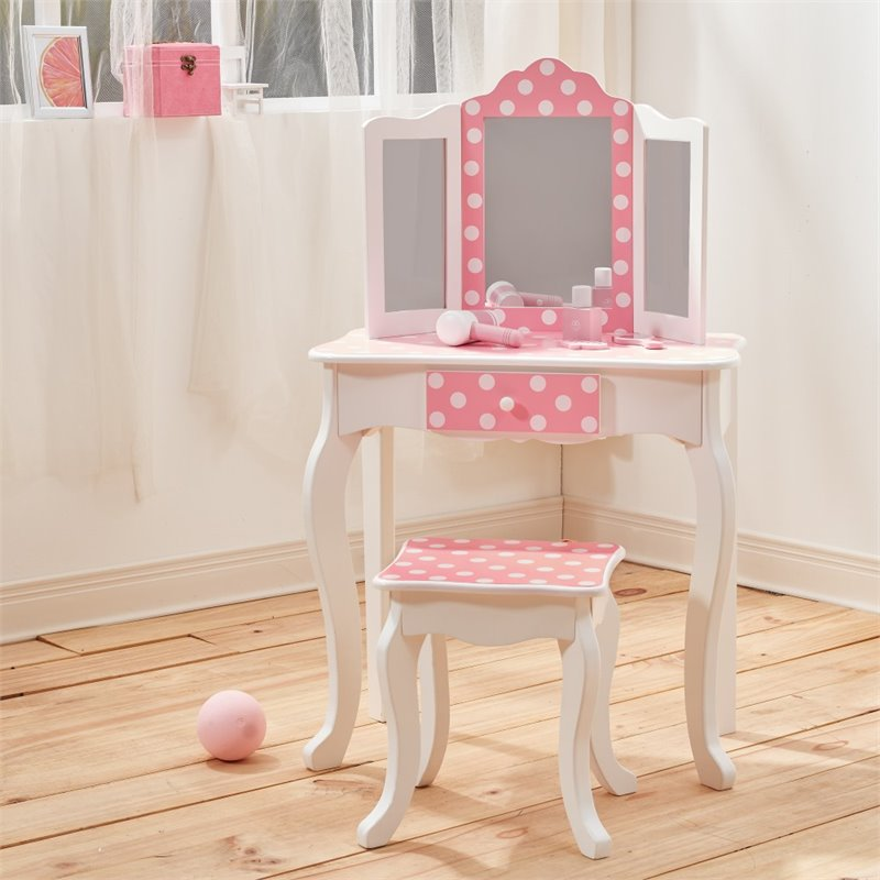 Astounding Teamson Kids Fashion Prints Polka Dot Vanity Table And Stool Set Lamtechconsult Wood Chair Design Ideas Lamtechconsultcom