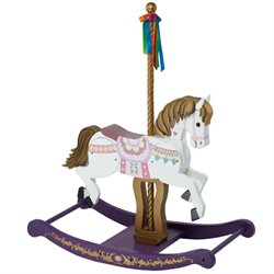 Teamson Kids Carousel Rocking Horse in White