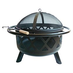 Peaktop Round Steel Wood Burning Fire Pit in Black