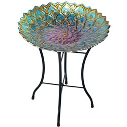 Peaktop Mosaic Flower Fusion Glass Bird Bath with Stand