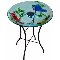 Peaktop Cardinals Fusion Glass Solar Bird Bath with Stand