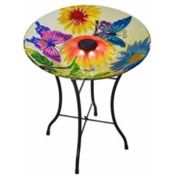 Peaktop Butterfly Fusion Glass Solar Bird Bath with Stand