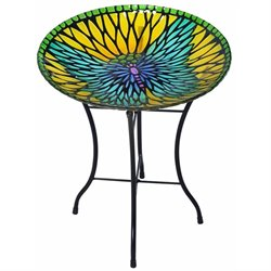 Peaktop Mosaic Butterfly Fusion Glass Bird Bath with Stand