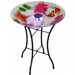 Peaktop Flower Fusion Glass Solar Bird Bath with Stand
