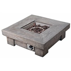 Peaktop Retro Square Propane Gas Fire Pit in Wood